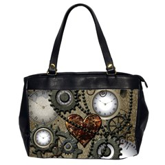 Steampunk With Clocks And Gears And Heart Office Handbags (2 Sides)
