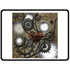 Steampunk With Clocks And Gears And Heart Fleece Blanket (Large)