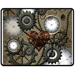 Steampunk With Clocks And Gears And Heart Fleece Blanket (medium)