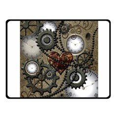 Steampunk With Clocks And Gears And Heart Fleece Blanket (Small)