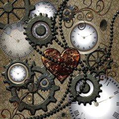 Steampunk With Clocks And Gears And Heart Magic Photo Cubes