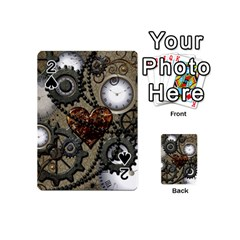 Steampunk With Clocks And Gears And Heart Playing Cards 54 (Mini)
