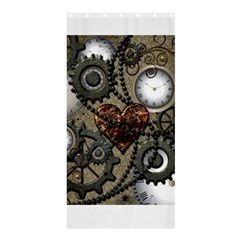 Steampunk With Clocks And Gears And Heart Shower Curtain 36  x 72  (Stall)