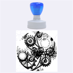 Steampunk With Clocks And Gears And Heart Rubber Round Stamps (Large)