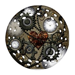 Steampunk With Clocks And Gears And Heart Round Filigree Ornament (2Side)
