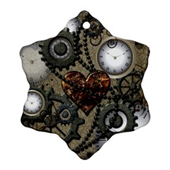 Steampunk With Clocks And Gears And Heart Snowflake Ornament (2-Side)