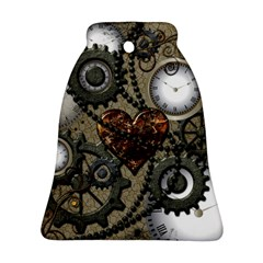 Steampunk With Clocks And Gears And Heart Bell Ornament (2 Sides)