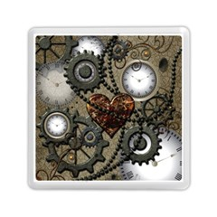 Steampunk With Clocks And Gears And Heart Memory Card Reader (Square)