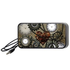 Steampunk With Clocks And Gears And Heart Portable Speaker (Black)