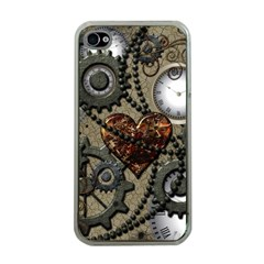 Steampunk With Clocks And Gears And Heart Apple iPhone 4 Case (Clear)