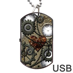 Steampunk With Clocks And Gears And Heart Dog Tag USB Flash (Two Sides)