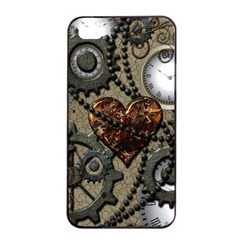 Steampunk With Clocks And Gears And Heart Apple iPhone 4/4s Seamless Case (Black)