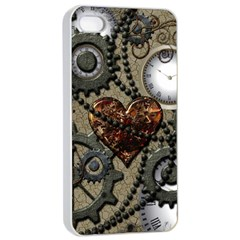 Steampunk With Clocks And Gears And Heart Apple Iphone 4/4s Seamless Case (white)