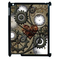 Steampunk With Clocks And Gears And Heart Apple iPad 2 Case (Black)