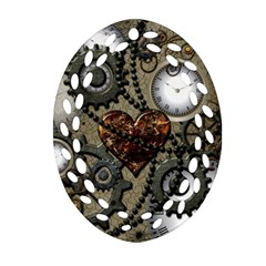 Steampunk With Clocks And Gears And Heart Ornament (Oval Filigree)