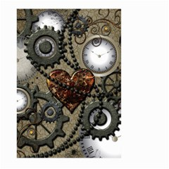 Steampunk With Clocks And Gears And Heart Large Garden Flag (Two Sides)