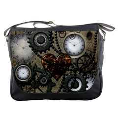 Steampunk With Clocks And Gears And Heart Messenger Bags