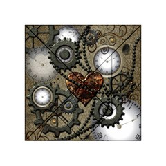 Steampunk With Clocks And Gears And Heart Acrylic Tangram Puzzle (4  x 4 )