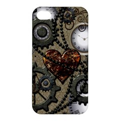 Steampunk With Clocks And Gears And Heart Apple iPhone 4/4S Premium Hardshell Case
