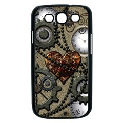 Steampunk With Clocks And Gears And Heart Samsung Galaxy S III Case (Black)