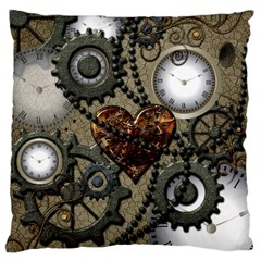 Steampunk With Clocks And Gears And Heart Large Cushion Cases (One Side)