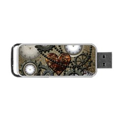 Steampunk With Clocks And Gears And Heart Portable USB Flash (One Side)