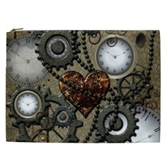 Steampunk With Clocks And Gears And Heart Cosmetic Bag (XXL)