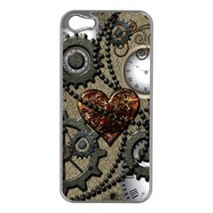Steampunk With Clocks And Gears And Heart Apple iPhone 5 Case (Silver)