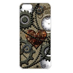 Steampunk With Clocks And Gears And Heart Apple iPhone 5 Seamless Case (White)