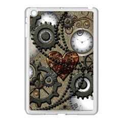 Steampunk With Clocks And Gears And Heart Apple iPad Mini Case (White)