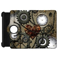 Steampunk With Clocks And Gears And Heart Kindle Fire HD Flip 360 Case