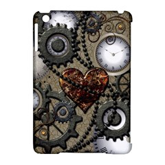 Steampunk With Clocks And Gears And Heart Apple iPad Mini Hardshell Case (Compatible with Smart Cover)