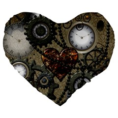 Steampunk With Clocks And Gears And Heart Large 19  Premium Heart Shape Cushions