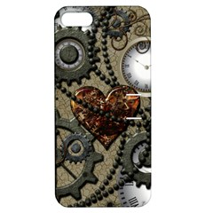 Steampunk With Clocks And Gears And Heart Apple iPhone 5 Hardshell Case with Stand
