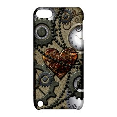 Steampunk With Clocks And Gears And Heart Apple iPod Touch 5 Hardshell Case with Stand