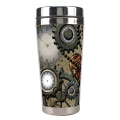 Steampunk With Clocks And Gears And Heart Stainless Steel Travel Tumblers