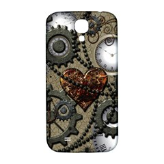 Steampunk With Clocks And Gears And Heart Samsung Galaxy S4 I9500/I9505  Hardshell Back Case