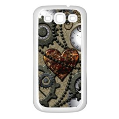 Steampunk With Clocks And Gears And Heart Samsung Galaxy S3 Back Case (White)