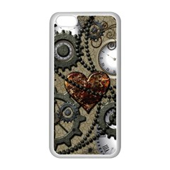 Steampunk With Clocks And Gears And Heart Apple iPhone 5C Seamless Case (White)