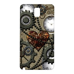 Steampunk With Clocks And Gears And Heart Samsung Galaxy Note 3 N9005 Hardshell Back Case