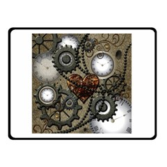 Steampunk With Clocks And Gears And Heart Double Sided Fleece Blanket (Small)