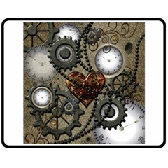 Steampunk With Clocks And Gears And Heart Double Sided Fleece Blanket (Medium)