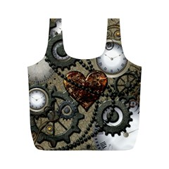 Steampunk With Clocks And Gears And Heart Full Print Recycle Bags (M)