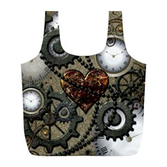Steampunk With Clocks And Gears And Heart Full Print Recycle Bags (L)