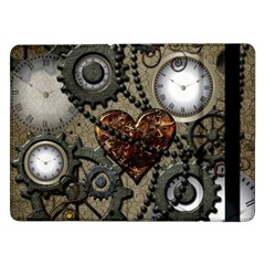 Steampunk With Clocks And Gears And Heart Samsung Galaxy Tab Pro 12.2  Flip Case