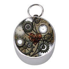 Steampunk With Clocks And Gears And Heart Mini Silver Compasses