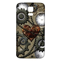 Steampunk With Clocks And Gears And Heart Samsung Galaxy S5 Back Case (White)