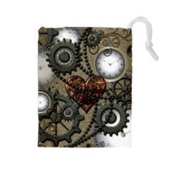 Steampunk With Clocks And Gears And Heart Drawstring Pouches (Large)