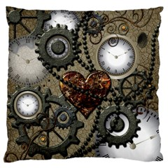 Steampunk With Clocks And Gears And Heart Large Flano Cushion Cases (Two Sides)