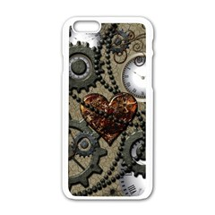 Steampunk With Clocks And Gears And Heart Apple iPhone 6 White Enamel Case